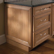 Base cabinet with a decorative end panel