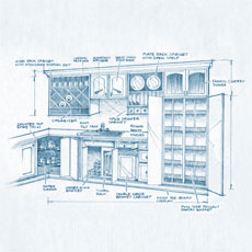 Cabinet elevation blueprint
