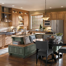 Anden cabinets in an L-shaped kitchen with an island