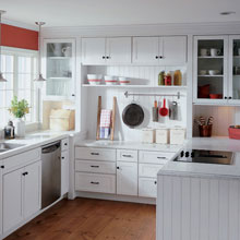 White U-shaped kitchen with Montgomery cabinets
