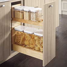 Base container organizer pantry pullout cabinet in Wharf specialty laminate