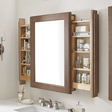 Vanity mirror cabinet with side pullouts in Cherry Morel finish