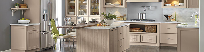 Sumner and Liberty beige kitchen cabinets
