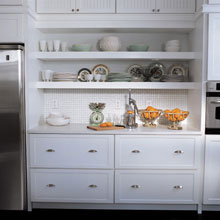 Montgomery white kitchen cabinets in a horizontal orientation