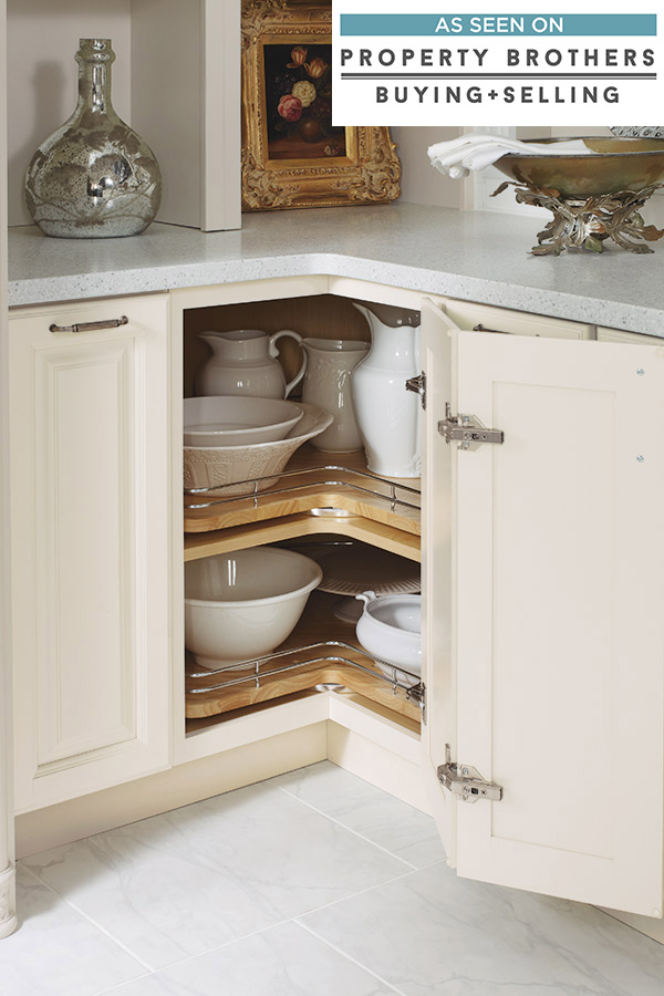 Base Lazy Susan Cabinet With Chrome Rails Diamond