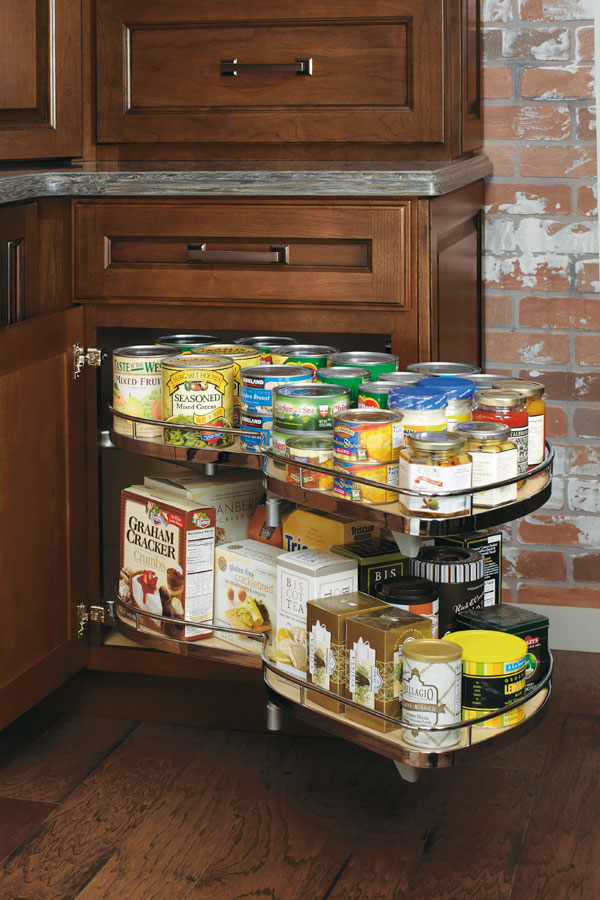 Base corner cabinet with curved pullout diamond cabinetry for Corner kitchen cabinet storage ideas
