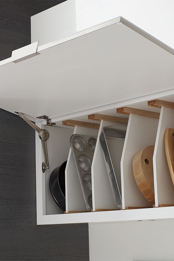 Wall Top Hinge Cabinet With Tray Divider