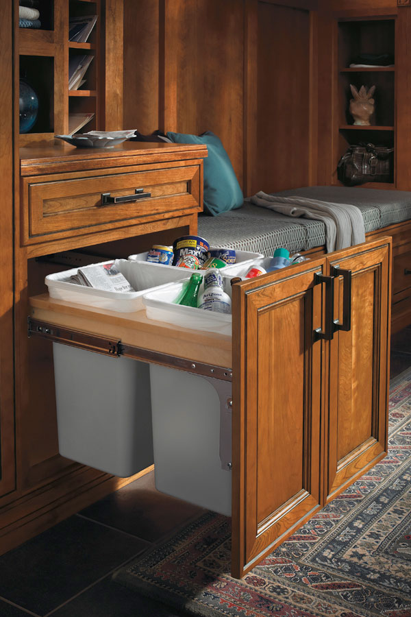 Recycling trash base cabinet diamond cabinetry for Diamond kitchen cabinets