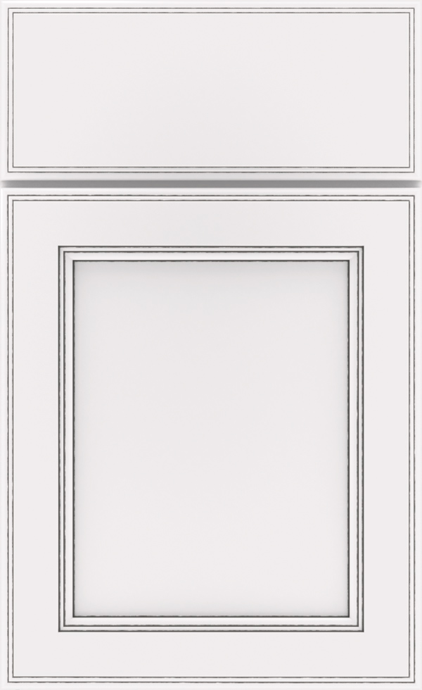White With Grey Stone Detail Cabinet, White Cabinets With Gray Glaze