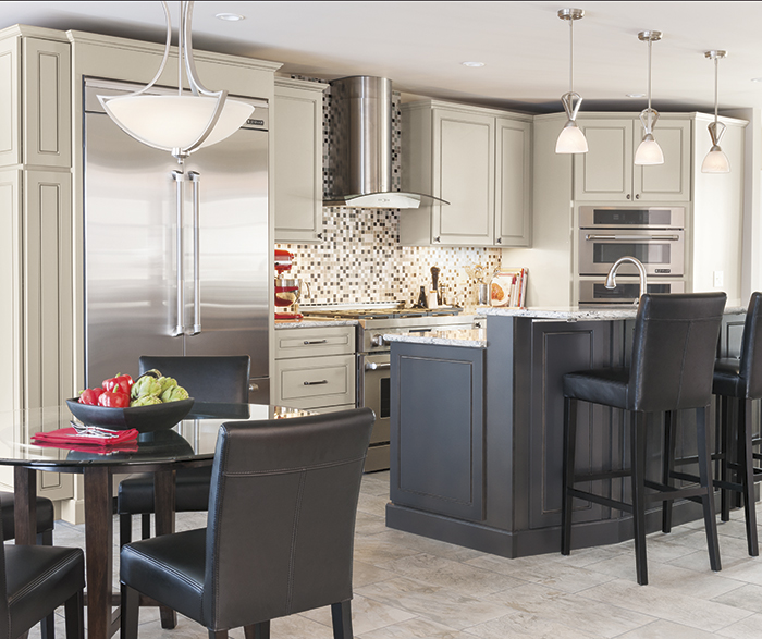Beau Light Gray Anden Kitchen Cabinets In Dover Grey Stone With Dark Gray Island  In Storm ...