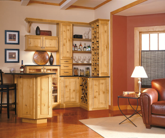 Rustic alder Carson cabinets in kitchen/bar area