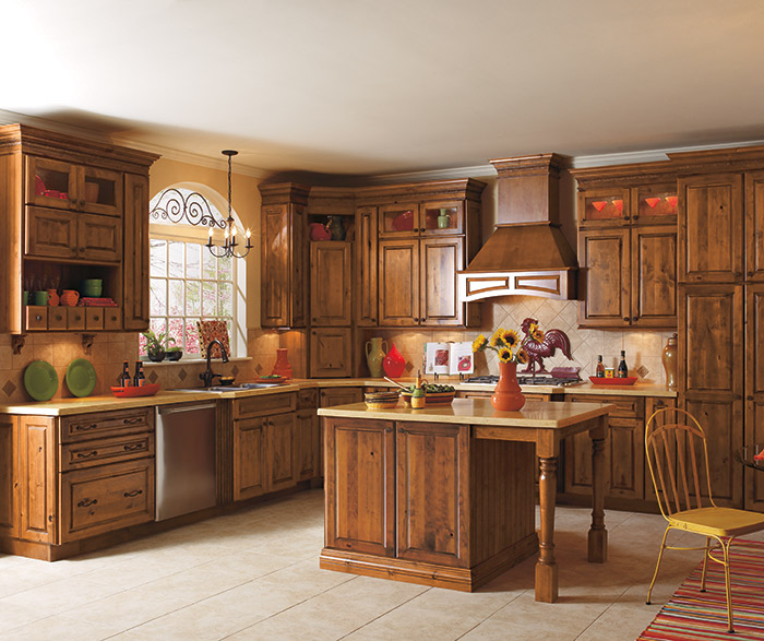 Carson Rustic Alder kitchen cabinets in Whiskey Black finish