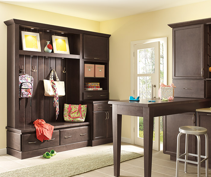 Entryway cabinets by Diamond Cabinetry