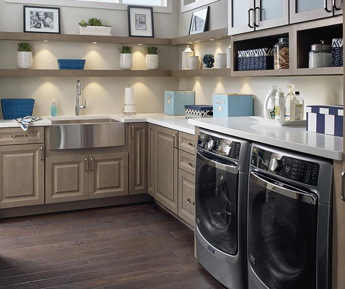 Laundry Room Featuring Davis Cabinets In Maple Seal And Open Shelving ...
