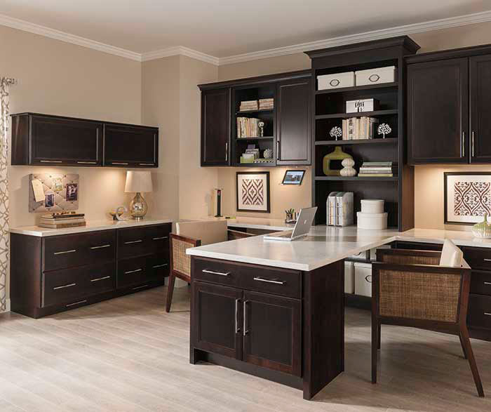 Elegant Office Cabinets In A Dark Cherry Finish