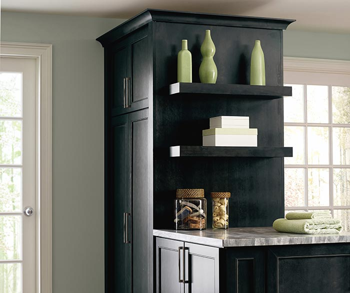 Leeton dark grey laundry cabinets with open shelving