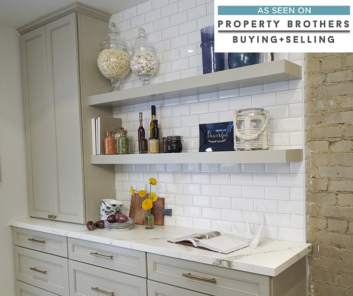 Gray Kitchen Cabinets In Leeton Maple Egret With Floating Shelves ...
