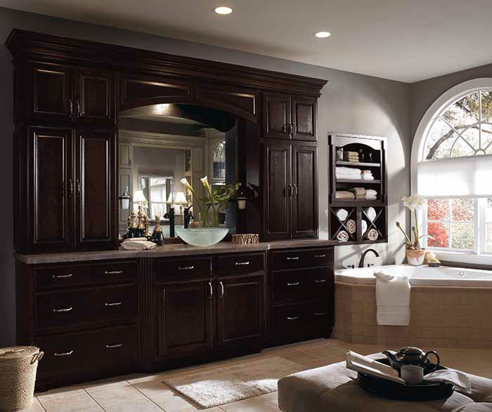 ... Dark Wood Cabinets In Traditional Bathroom By Diamond Cabinetry ...