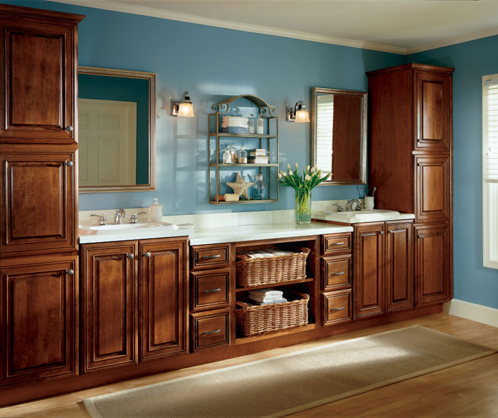cherry cabinets bathroom selena cabinet door style semi custom cabinetry 13492