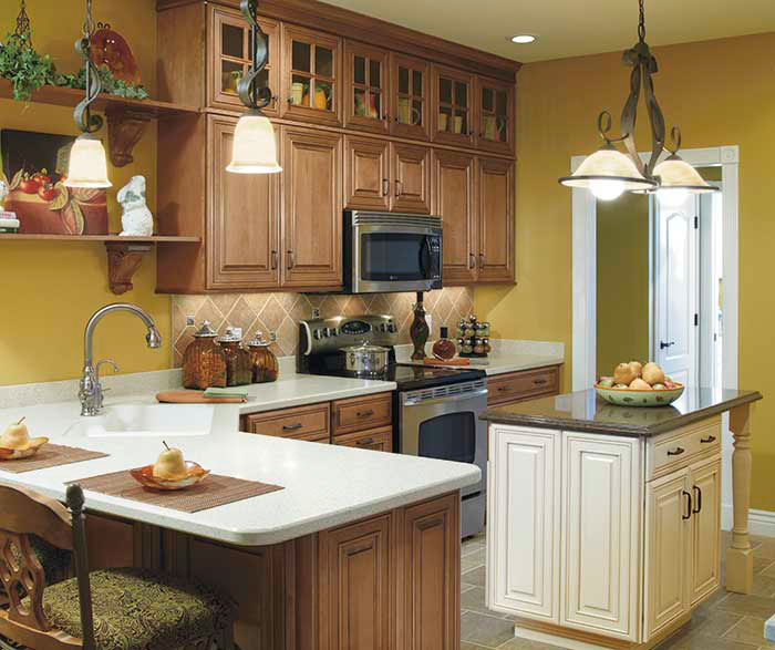 Traditional Kitchen Cabinets with a Contrasting Island