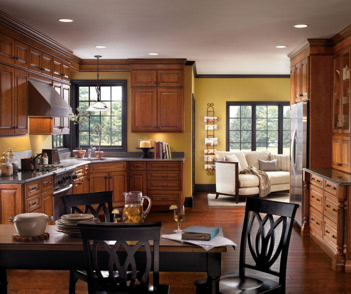 Traditional cherry kitchen cabinets by Diamond Cabinetry
