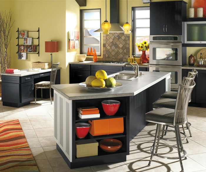 Contemporary black kitchen cabinets by Diamond Cabinetry