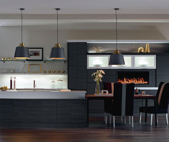 Elegant Contemporary Laminate Kitchen Cabinets In Woodgrain Obsidian Finish ...