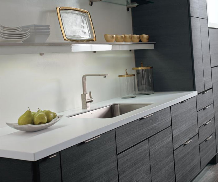 ... Contemporary Laminate Kitchen Cabinets In Woodgrain Obsidian Finish ...