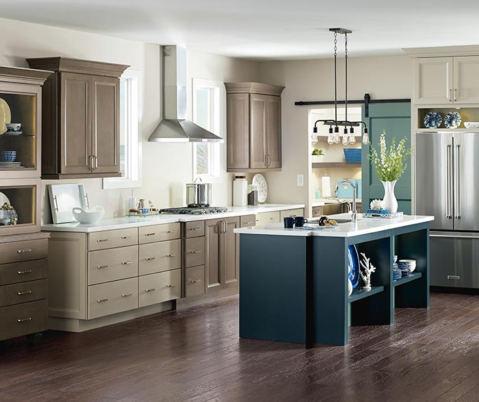 Wells Maple Kitchen Cabinets In Seal Egret And Maritime Finishes