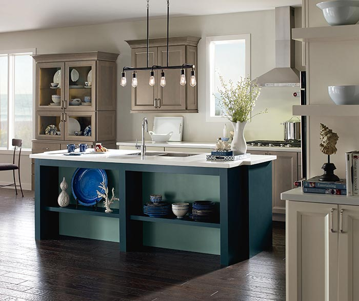 Wells Maple kitchen cabinets in Seal, Egret and Maritime finishes