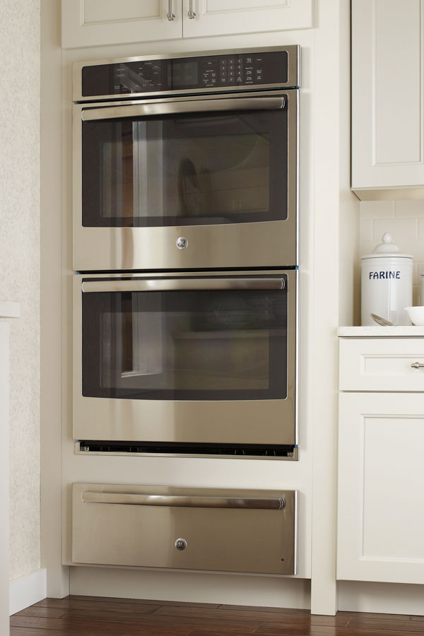 Double Oven Cabinet With Extended Warming Drawer Opening