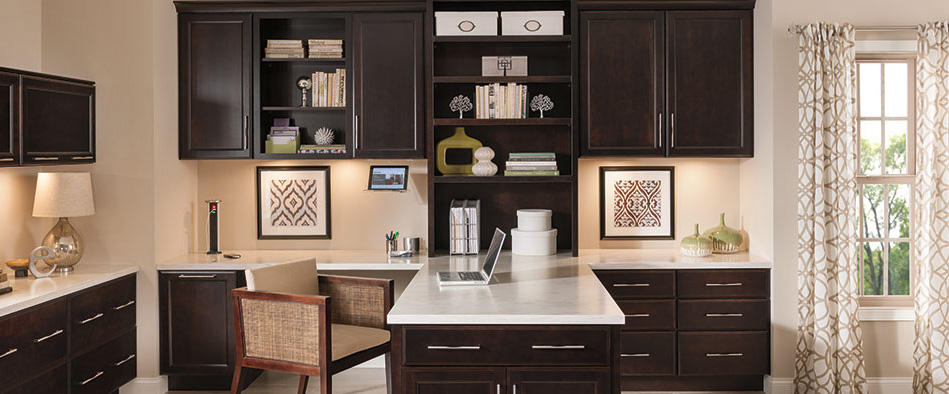 Home Office Featuring Cherry Hanlon Cabinets With A Dark Finish
