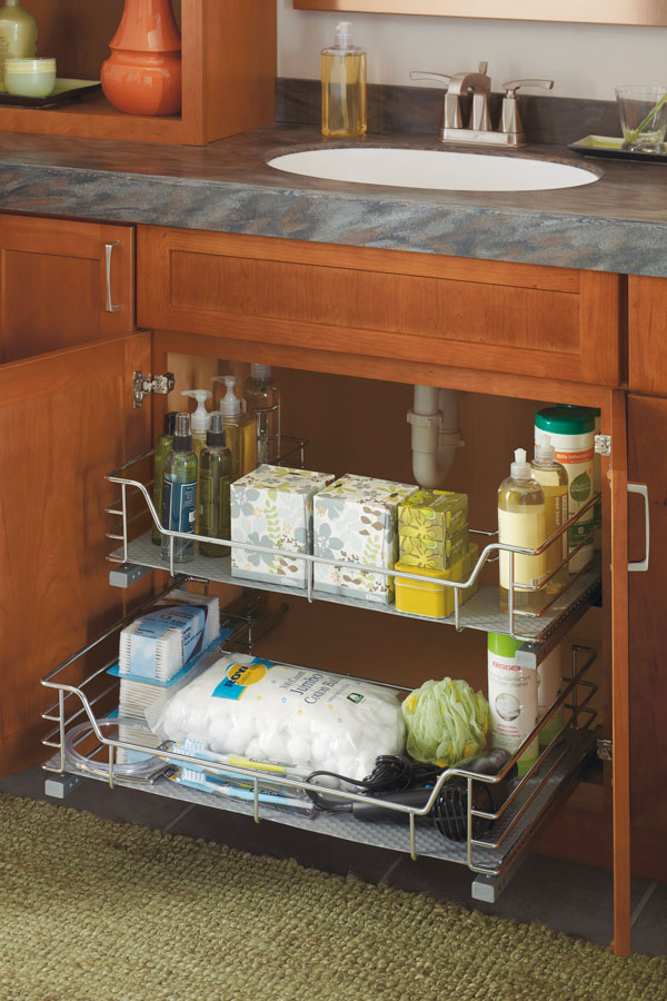 under kitchen sink pull out storage vanity u shaped pullout cabinet cabinetry 9532
