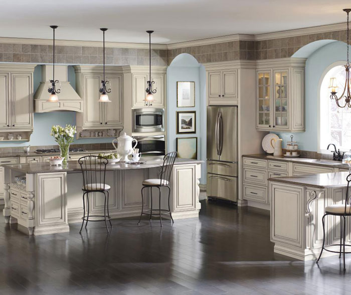 Cream Cabinets with Glaze in Traditional Kitchen