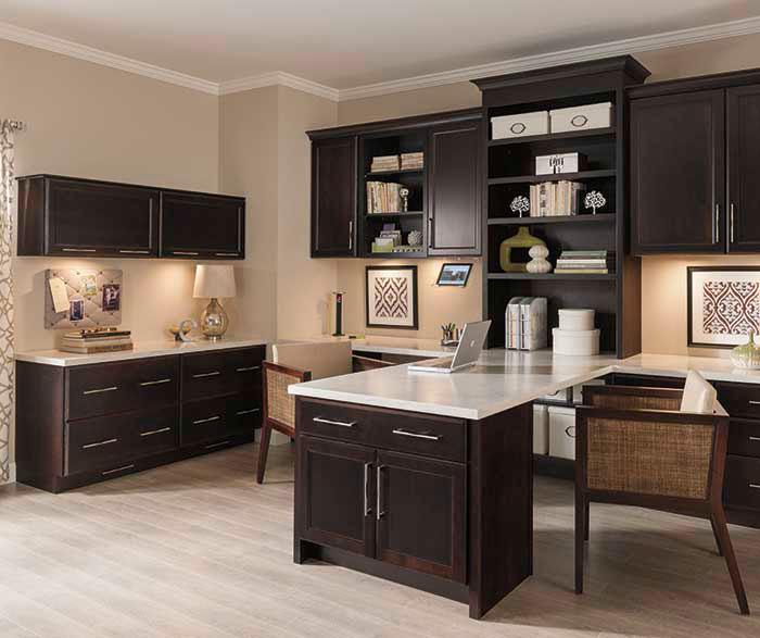 Hanlon office cabinets in dark cherry finish