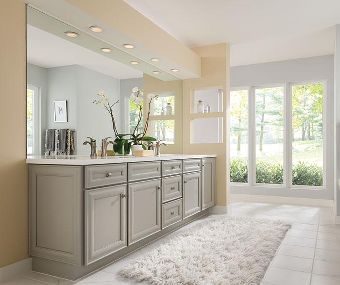 Grey Rothshire cabinets in casual bathroom