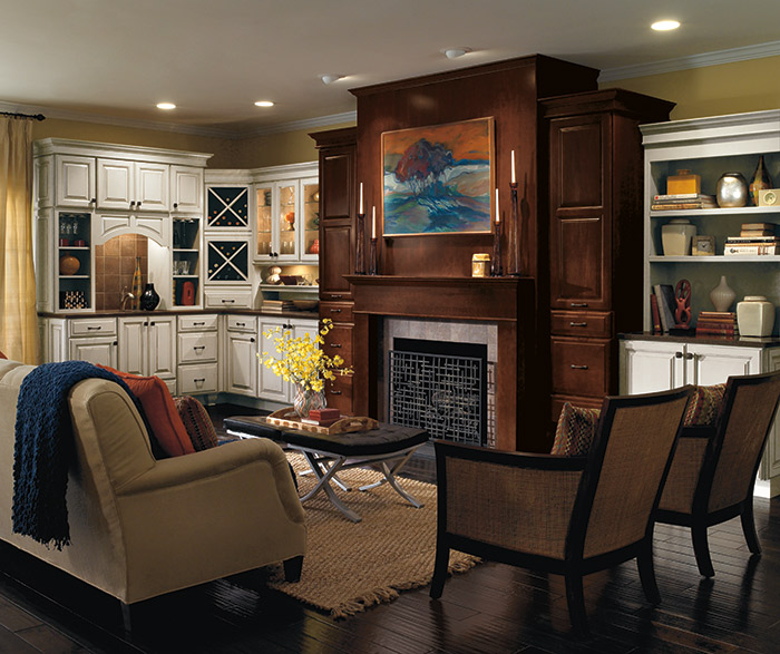 Sullivan two tone living room cabinets in dark stain and off white paint