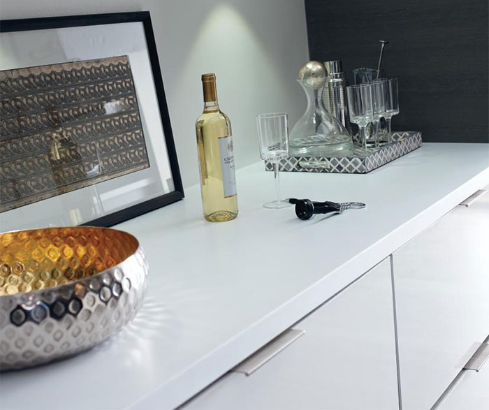 Close up of white high gloss laminate kitchen cabinets