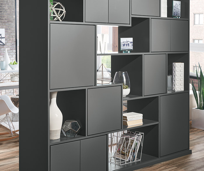 Dark gray room divider cabinets in Trystan door style with Moonstone opaque finish